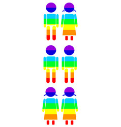rainbow gay couples icon set vector image vector image