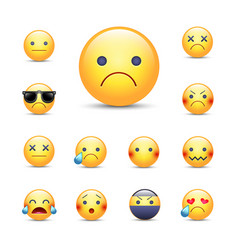 sad sorry cartoon emoji face set unhappy crying vector image