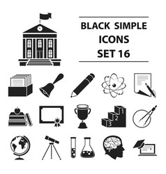 school set icons in black style big collection vector image