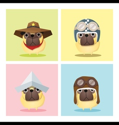 Set of dog in cute costumes vector