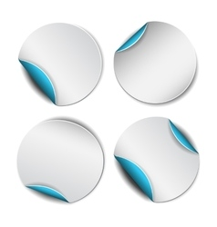 Set of white round stickers with blue backside vector image