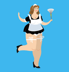 Sexy maid sensual cleaning woman girl in black vector