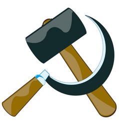 Sickle and hammer on white vector