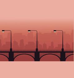 Silhouette of street lamp lined on bridge vector