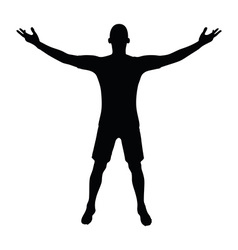 Soccer player silhouette in black vector