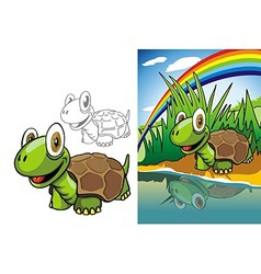 Turtle on river vector image vector image