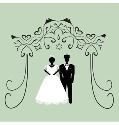 Vintage graphic chuppah religious jewish wedding vector