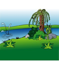 Willow And Stream vector image vector image