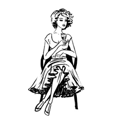 Woman sitting and drinking wine vector