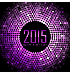 - Happy New Year 2015 - purple disco lights frame vector image