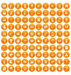 100 farm icons set orange vector