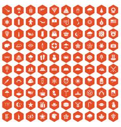 100 star icons hexagon orange vector