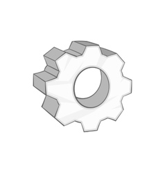 Gear icon in cartoon style vector