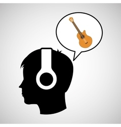 Head silhouette listening music guitar vector