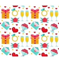Cute seamless pattern valentines day with flowers vector