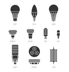 Led light lamp bulbs silhouette icon set vector