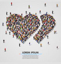 large group of people in the double hearts shape vector image