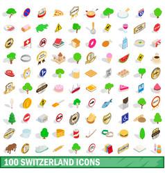 100 switzerland icons set isometric 3d style vector