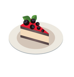 piece of cake in isometric 3d style on white plate vector image