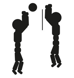 Volleyball players are playing sign vector