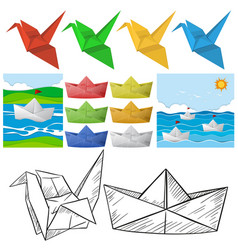 Origami craft with bird and boat vector
