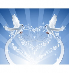 Doves with roses wreath vector