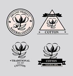 Cotton icons natural product vector