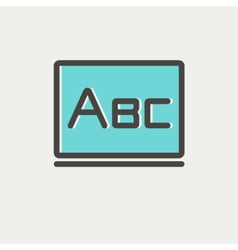 Big letters abc on the blackboard thin line icon vector