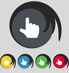 Pointing hand icon sign symbol on five colored vector