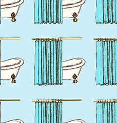 Sketch bath curtains in vintage style vector