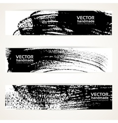 Brush texture handdrawing banner set vector image
