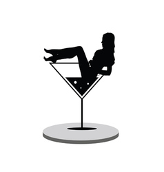 Girl in martini on stage vector