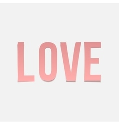 Love word valentines day paper pink letters vector