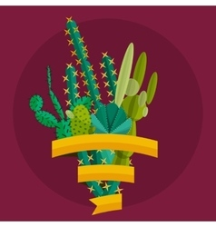Tropical plants cactus set in flat style vector