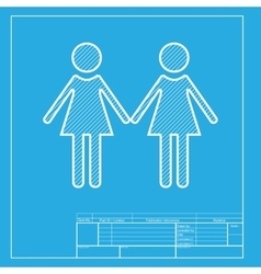 Lesbian family sign white section of icon on vector
