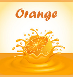 a splash of fruit orange juice vector image