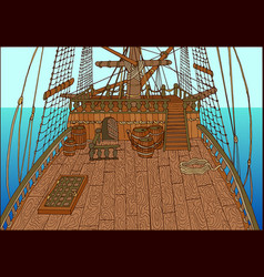 Background with deck of sailing ship vector