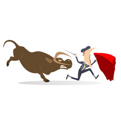 Bullfighter and angry bull isolated vector