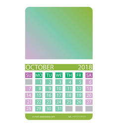 Calendar grid october vector