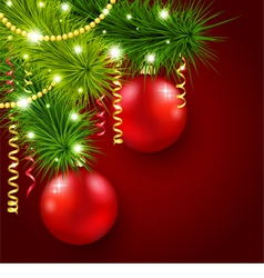 Christmas tree decorated with red balls vector
