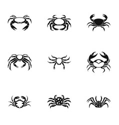 Crab icons set simple style vector