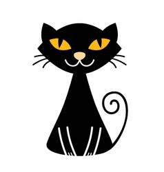 Cute halloween black Cat isolated on white vector image