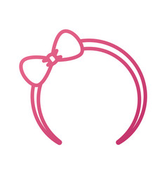 Cute pink headband with bow for small girl icon vector
