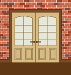 Flat Design Wooden Double Doors vector image