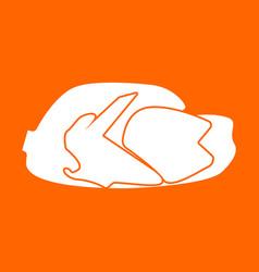 Fried chicken dish white icon vector