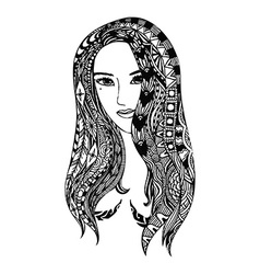 girl zentangle vector image