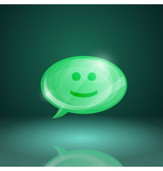 Glossy speech bubble icon with smile vector image