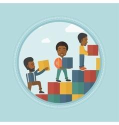 Group of businessmen building career ladder vector