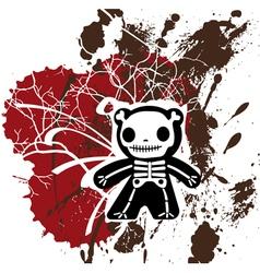 Grunge teddy bones vector