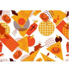 halloween memphis seamless pattern festive vector image